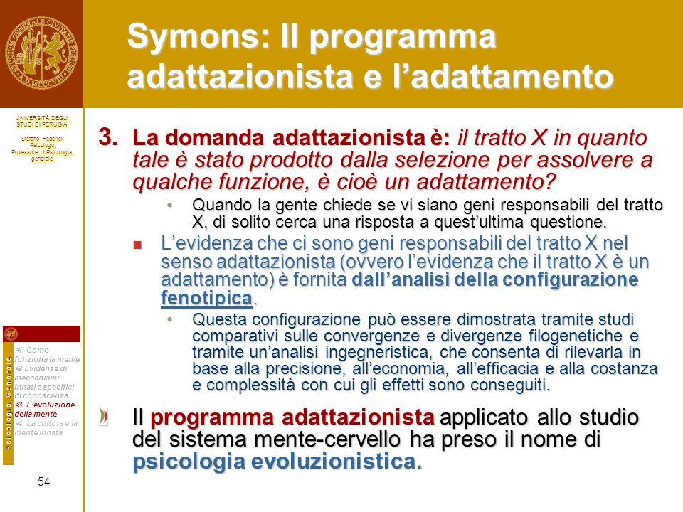 Symons: Il programma adattazionista e l'adattamento