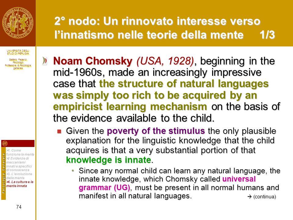 2° nodo: Un rinnovato interesse verso l'innatismo nelle teorie della mente 1/3