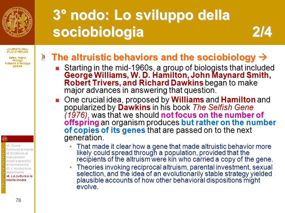 3° nodo: Lo sviluppo della sociobiologia 2/4