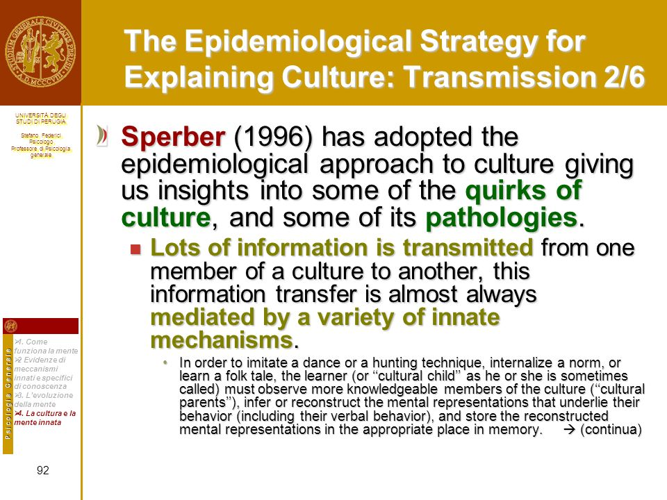 The Epidemiological Strategy for Explaining Culture: Transmission 2/6