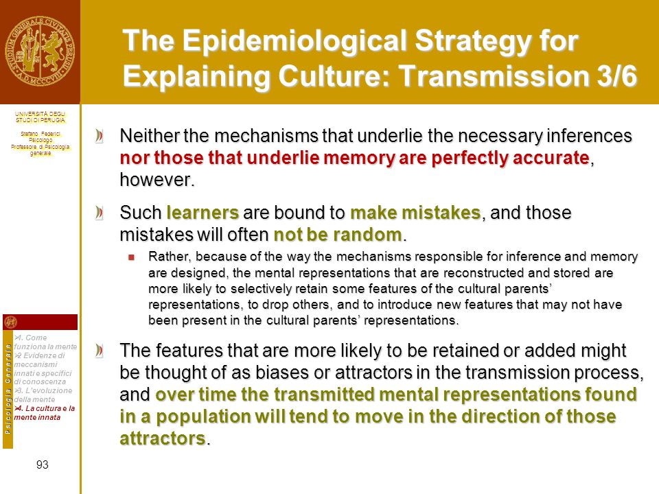 The Epidemiological Strategy for Explaining Culture: Transmission 3/6