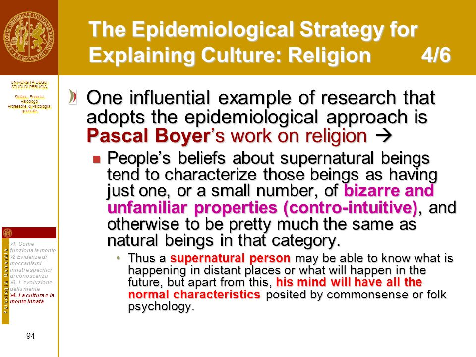 The Epidemiological Strategy for Explaining Culture: Religion 4/6