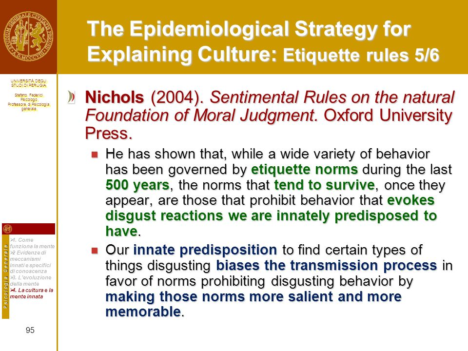The Epidemiological Strategy for Explaining Culture: Etiquette rules
