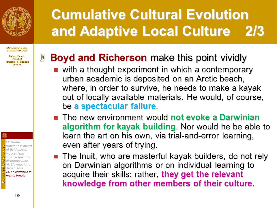 Cumulative Cultural Evolution and Adaptive Local Culture 2/3