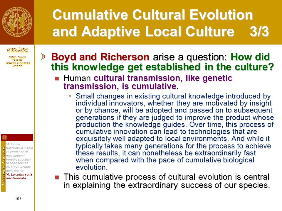 Cumulative Cultural Evolution and Adaptive Local Culture 3/3