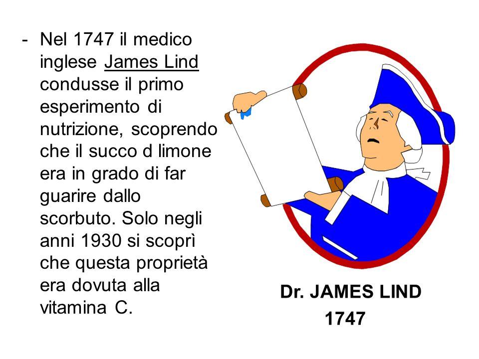 Nel 1747 il medico inglese James Lind condusse il primo esperimento di nutrizione, scoprendo che il succo d limone era in grado di far guarire dallo scorbuto. Solo negli anni 1930 si scoprì che questa proprietà era dovuta alla vitamina C.