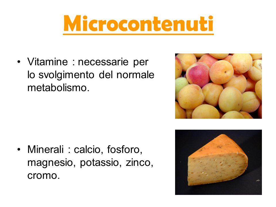 Microcontenuti Vitamine : necessarie per lo svolgimento del normale metabolismo.