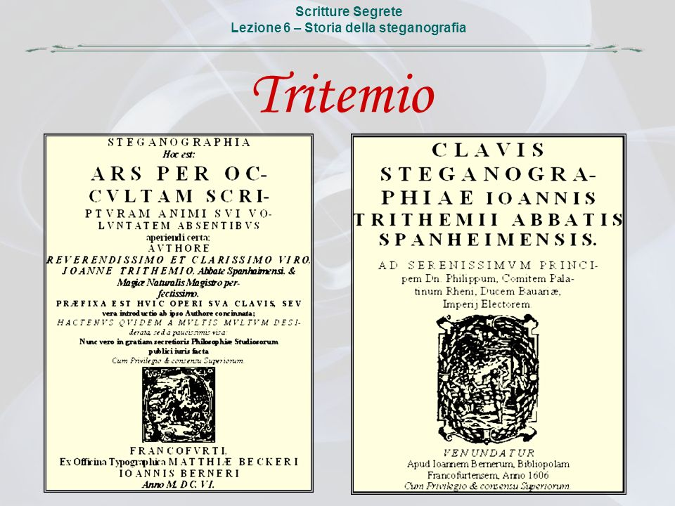 Lezione 6 – Storia della steganografia