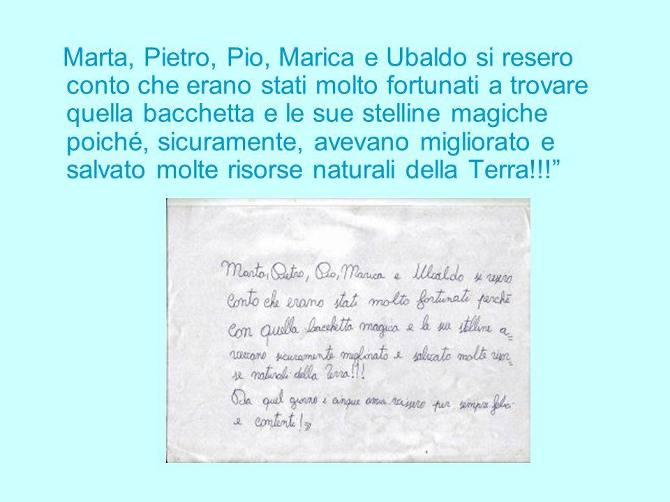 Marta, Pietro, Pio, Marica e Ubaldo si resero conto che erano stati molto fortunati a trovare quella bacchetta e le sue stelline magiche poiché, sicuramente, avevano migliorato e salvato molte risorse naturali della Terra!!!