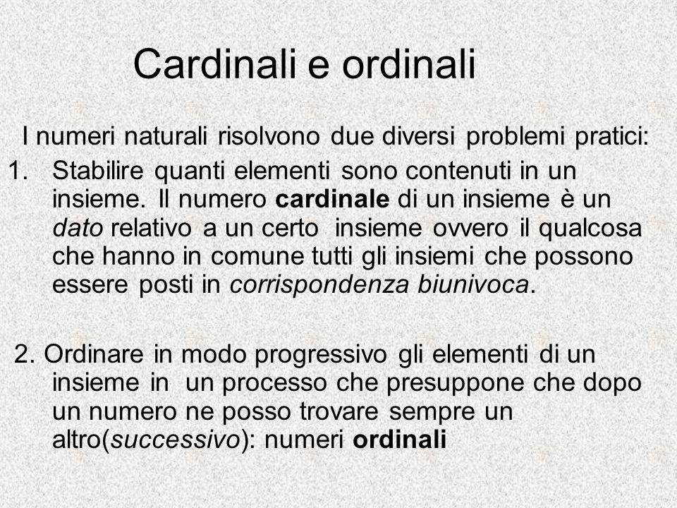 Cardinali e ordinali I numeri naturali risolvono due diversi problemi pratici: