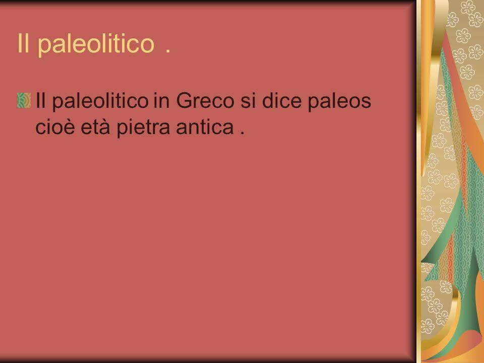 Il paleolitico . Il paleolitico in Greco si dice paleos cioè età pietra antica .