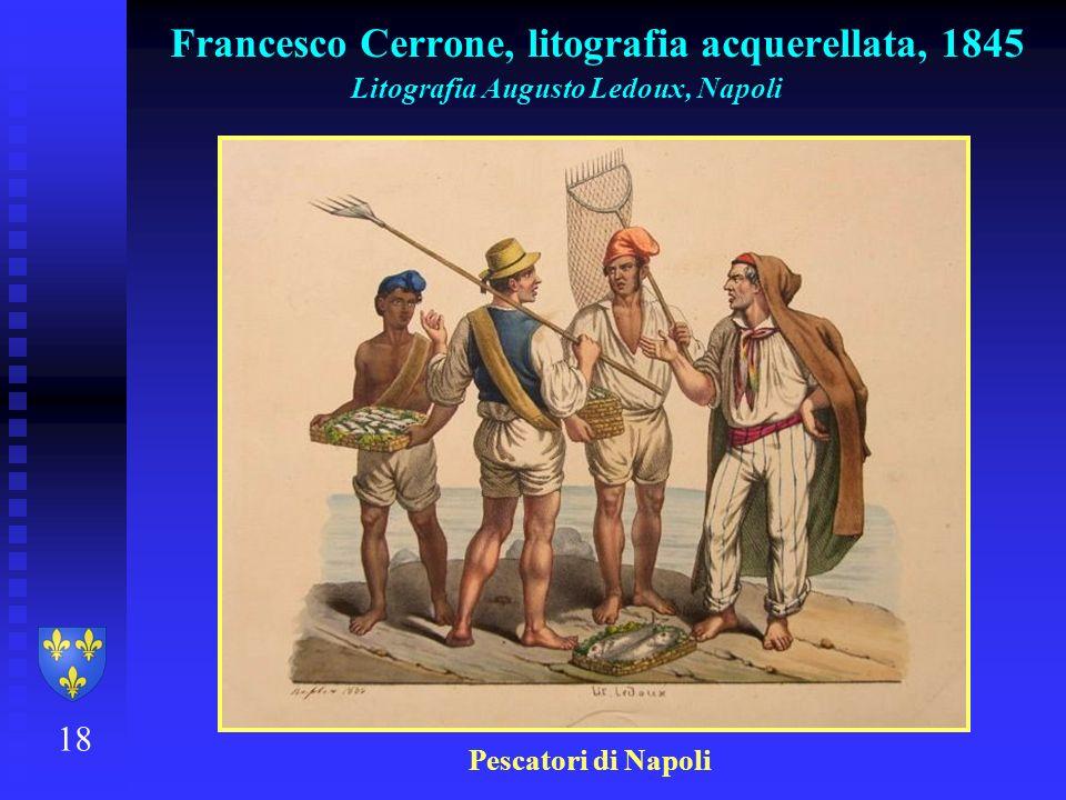 Francesco Cerrone, litografia acquerellata, 1845