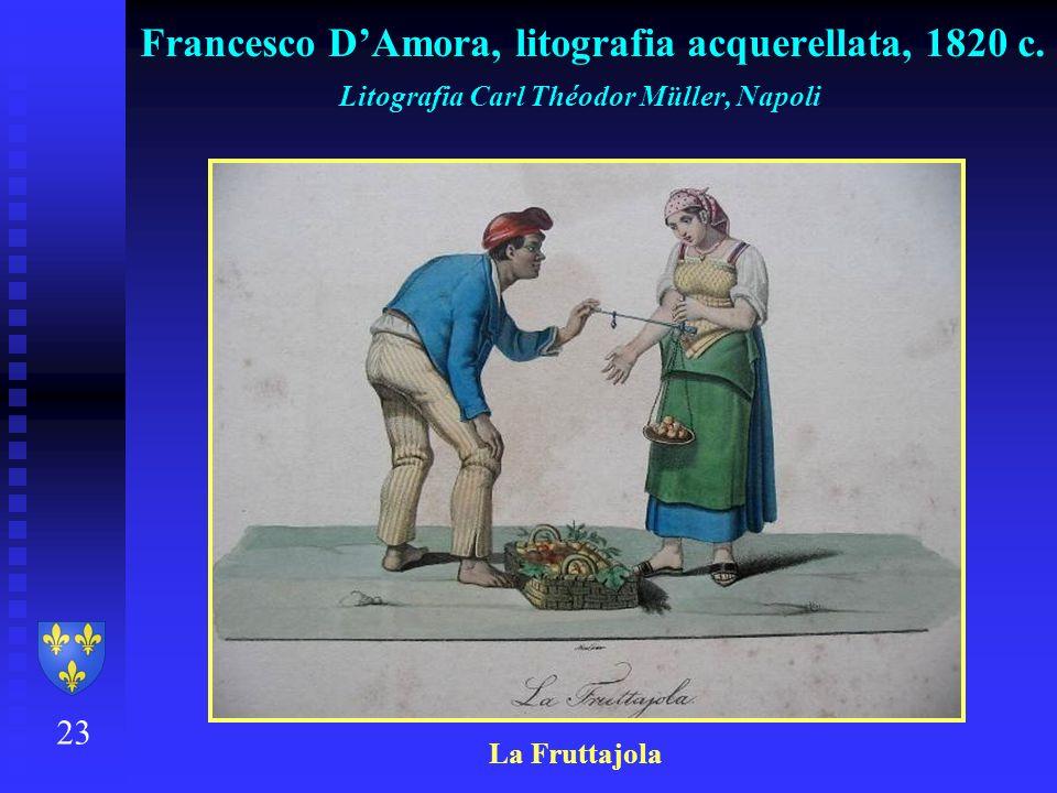 Francesco D'Amora, litografia acquerellata, 1820 c.
