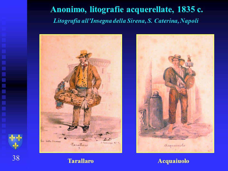 Anonimo, litografie acquerellate, 1835 c.