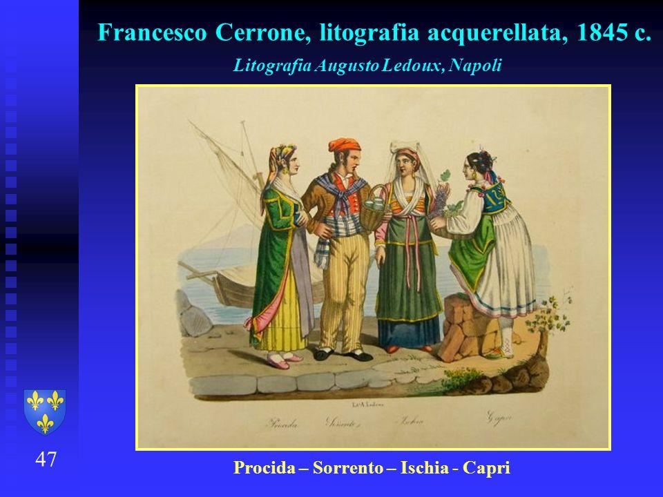 Francesco Cerrone, litografia acquerellata, 1845 c.