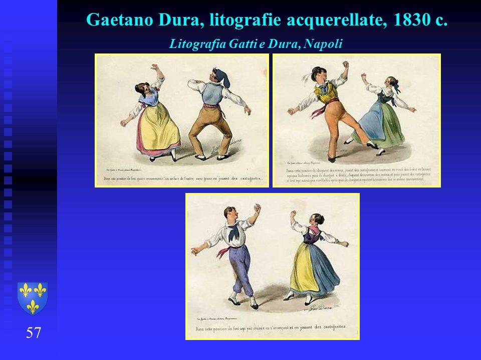 Gaetano Dura, litografie acquerellate, 1830 c.