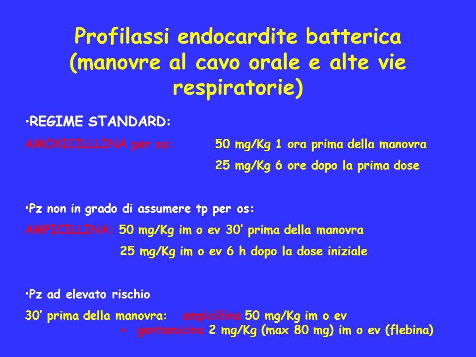 Profilassi endocardite batterica (manovre al cavo orale e alte vie respiratorie)
