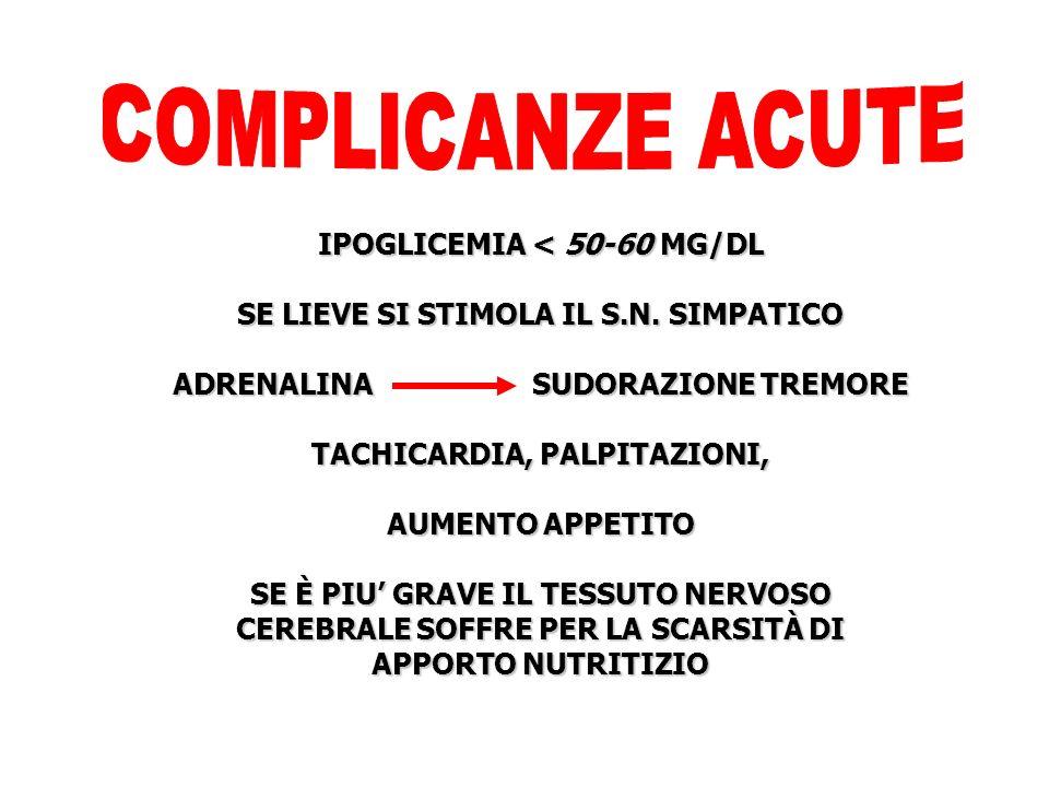 COMPLICANZE ACUTE IPOGLICEMIA < 50-60 MG/DL