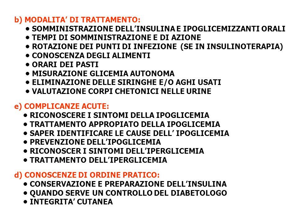 b) MODALITA' DI TRATTAMENTO: • SOMMINISTRAZIONE DELL'INSULINA E IPOGLICEMIZZANTI ORALI