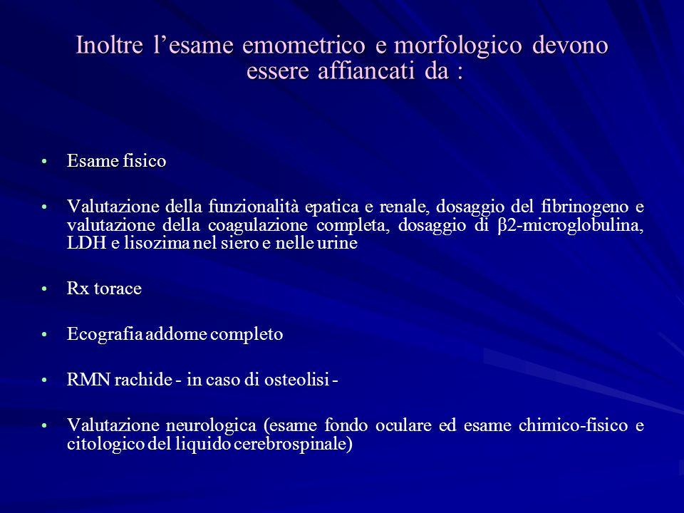 Inoltre l'esame emometrico e morfologico devono essere affiancati da :