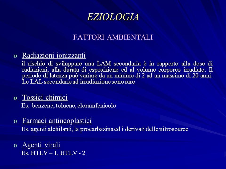 EZIOLOGIA FATTORI AMBIENTALI Radiazioni ionizzanti Tossici chimici