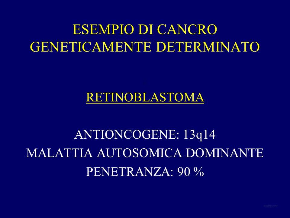 ESEMPIO DI CANCRO GENETICAMENTE DETERMINATO