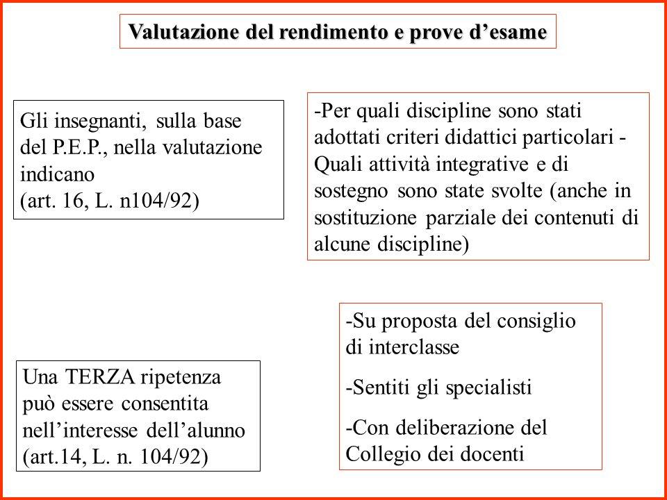 Valutazione del rendimento e prove d'esame