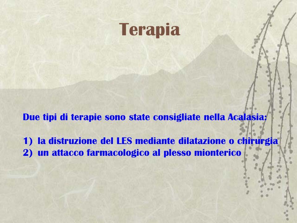 Terapia Due tipi di terapie sono state consigliate nella Acalasia: