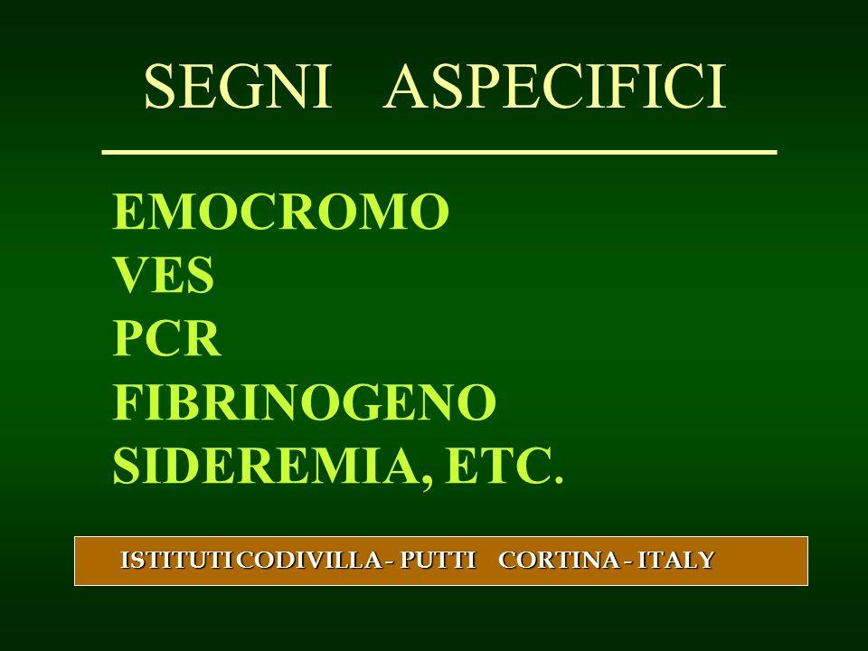 SEGNI ASPECIFICI EMOCROMO VES PCR FIBRINOGENO SIDEREMIA, ETC.