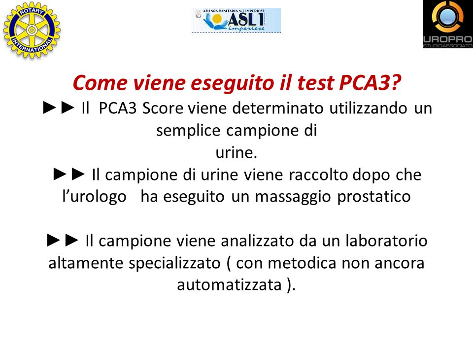 Come viene eseguito il test PCA3