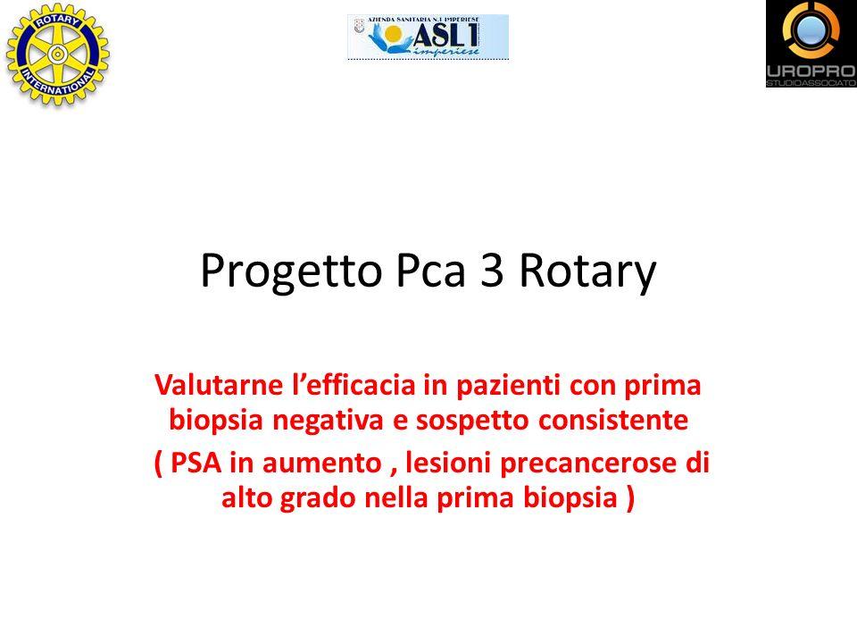 Progetto Pca 3 Rotary Valutarne l'efficacia in pazienti con prima biopsia negativa e sospetto consistente.