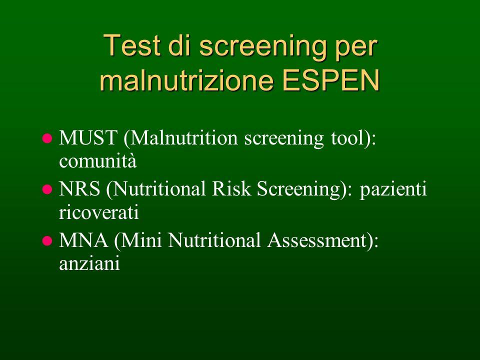 Test di screening per malnutrizione ESPEN