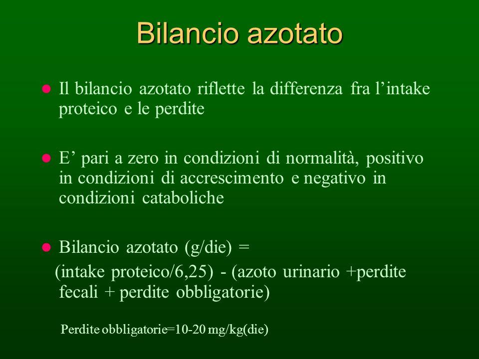Bilancio azotato Il bilancio azotato riflette la differenza fra l'intake proteico e le perdite.