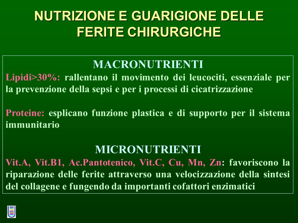 NUTRIZIONE E GUARIGIONE DELLE FERITE CHIRURGICHE