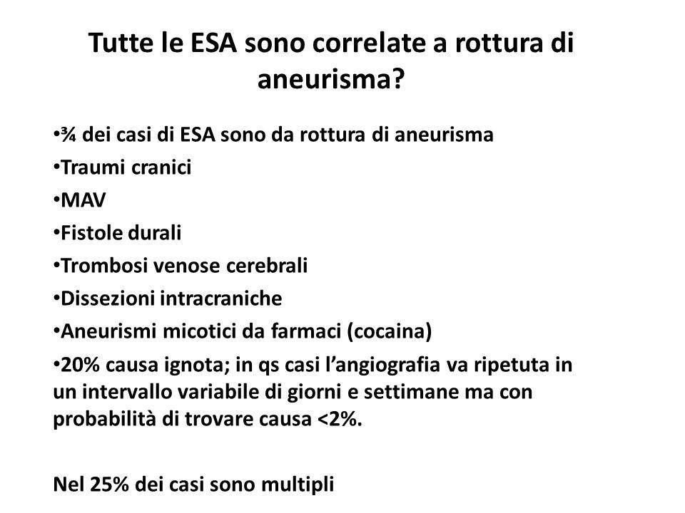Tutte le ESA sono correlate a rottura di aneurisma
