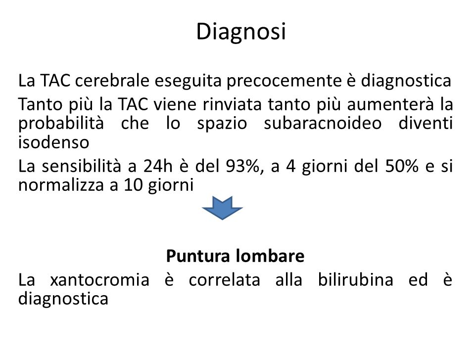 Diagnosi La TAC cerebrale eseguita precocemente è diagnostica