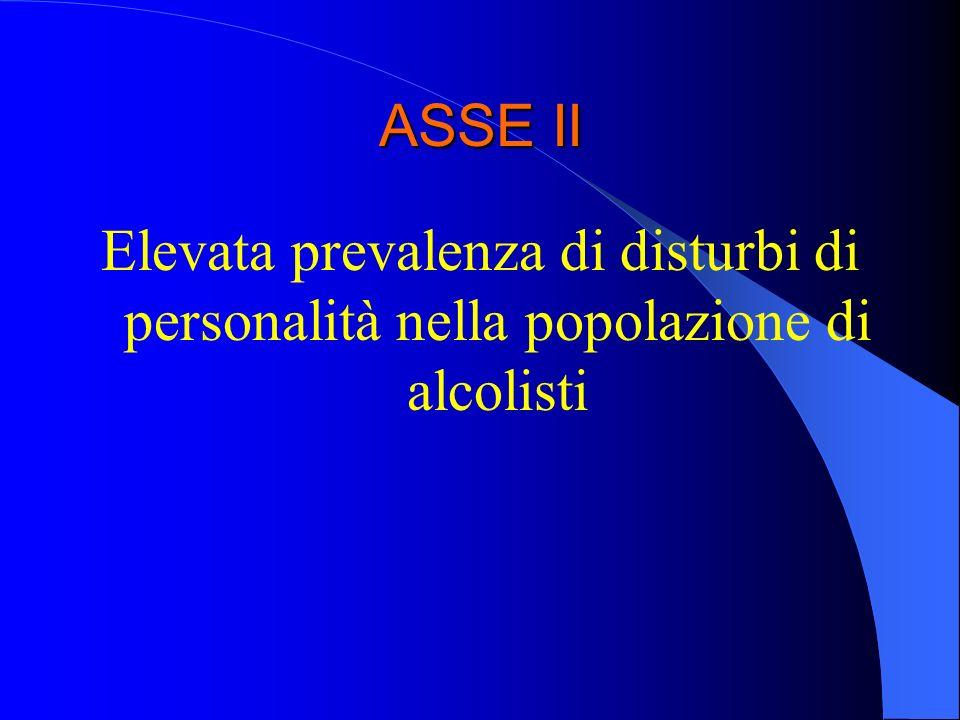 ASSE II Elevata prevalenza di disturbi di personalità nella popolazione di alcolisti