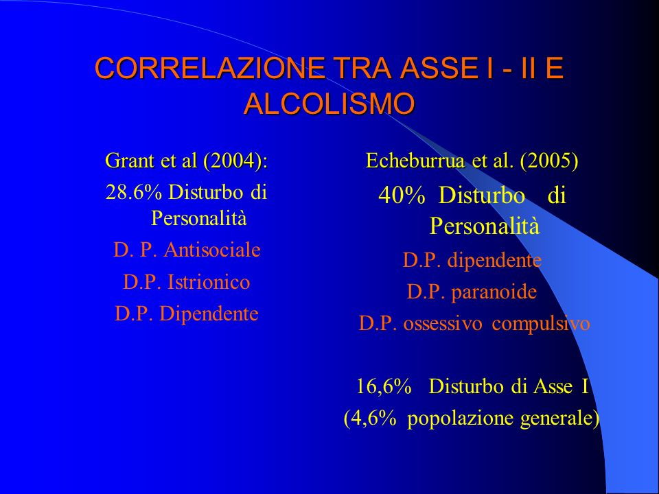 CORRELAZIONE TRA ASSE I - II E ALCOLISMO