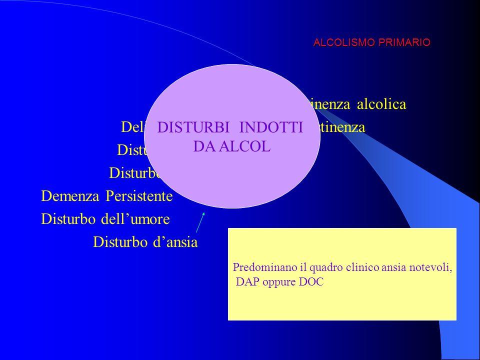 Delirium da intossicazione o astinenza Disturbo amnestico persistente