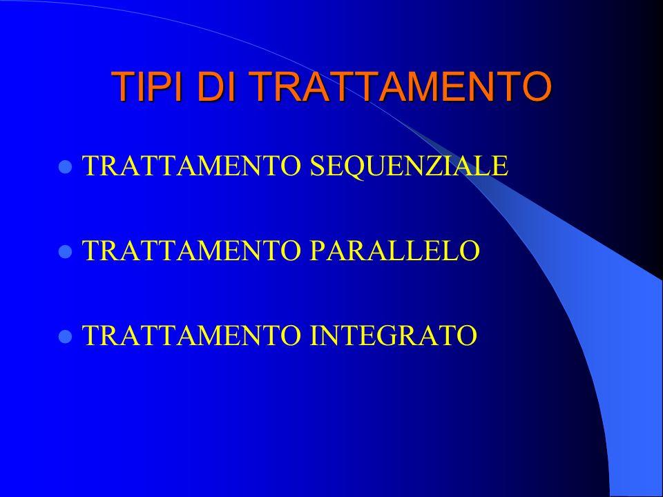 TIPI DI TRATTAMENTO TRATTAMENTO SEQUENZIALE TRATTAMENTO PARALLELO