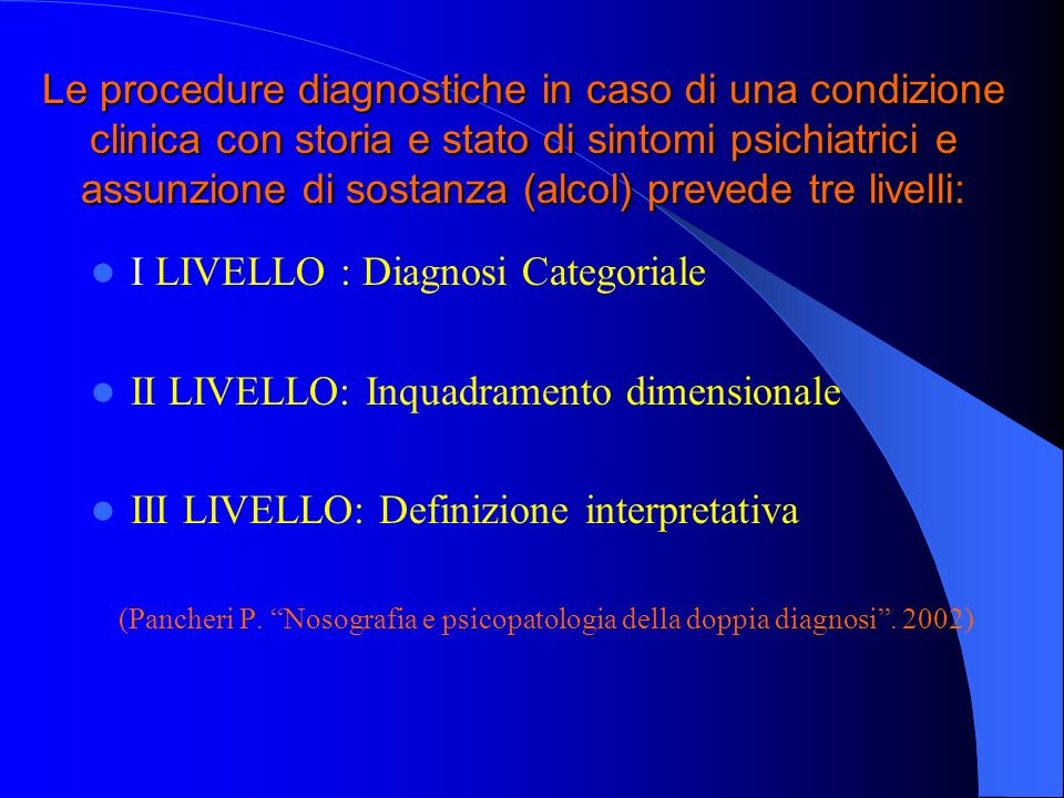 I LIVELLO : Diagnosi Categoriale