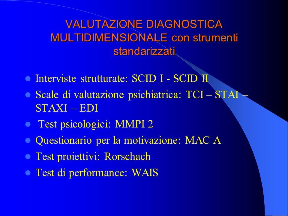 VALUTAZIONE DIAGNOSTICA MULTIDIMENSIONALE con strumenti standarizzati
