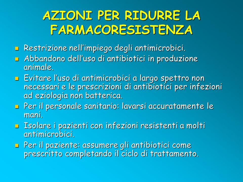 AZIONI PER RIDURRE LA FARMACORESISTENZA