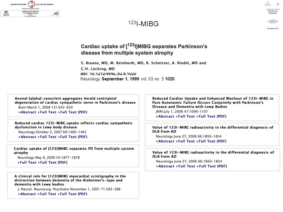 123I-MIBG doi: 10.1212/WNL.53.5.1020 Neurology September 1, 1999 vol. 53 no. 5 1020
