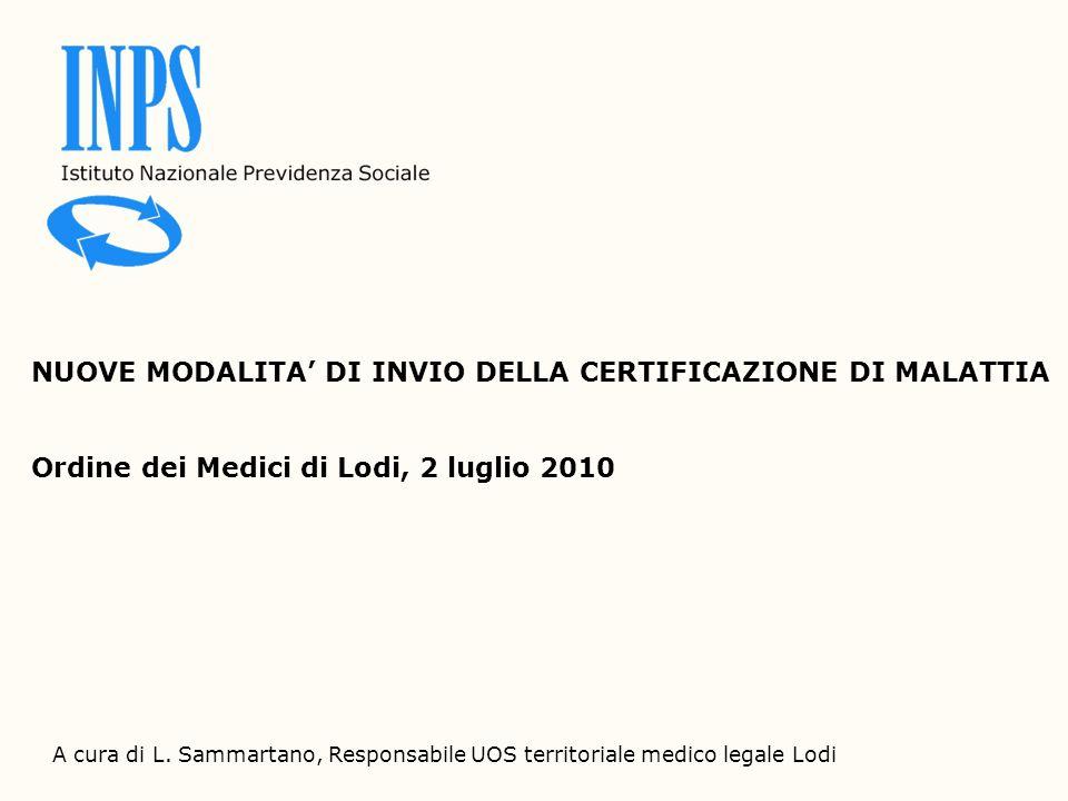 NUOVE MODALITA' DI INVIO DELLA CERTIFICAZIONE DI MALATTIA