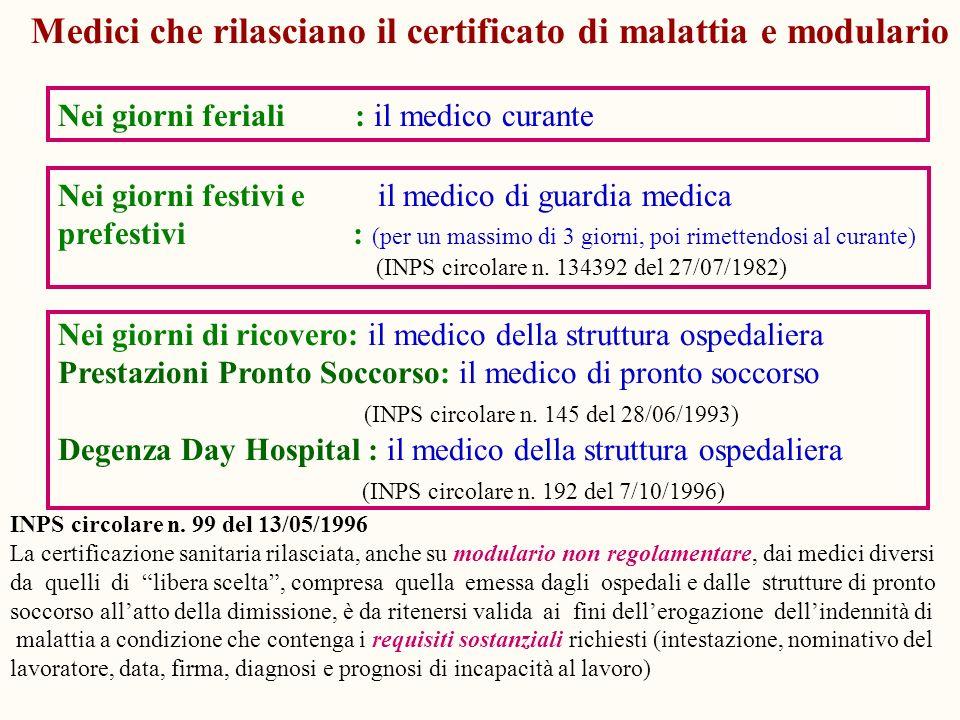 Medici che rilasciano il certificato di malattia e modulario