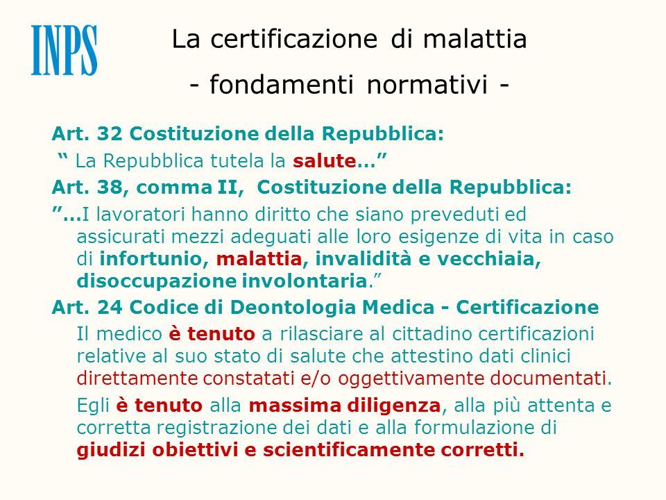 La certificazione di malattia - fondamenti normativi -
