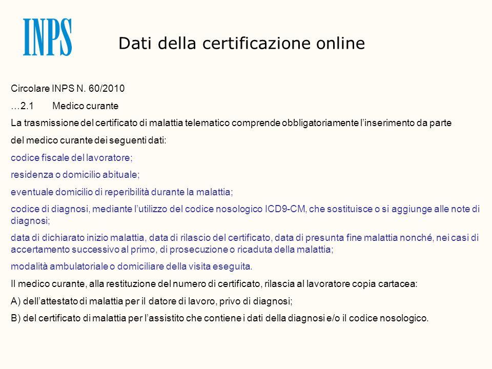 Dati della certificazione online