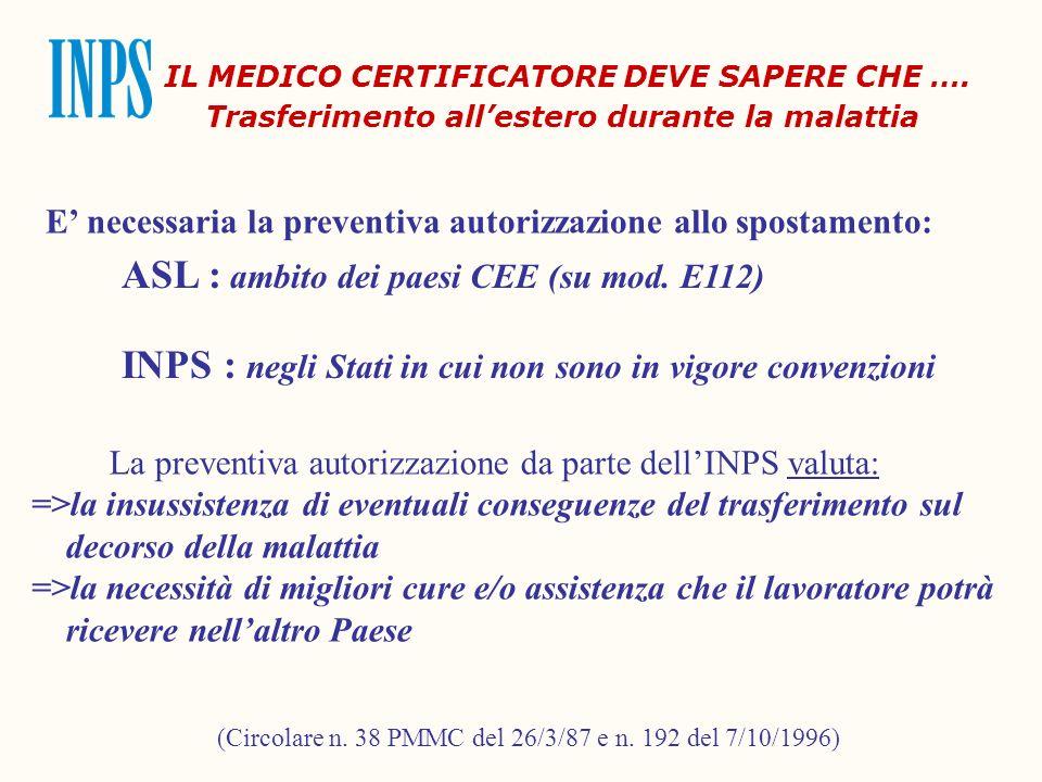 IL MEDICO CERTIFICATORE DEVE SAPERE CHE ….