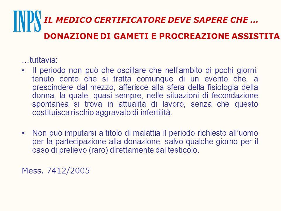 IL MEDICO CERTIFICATORE DEVE SAPERE CHE … DONAZIONE DI GAMETI E PROCREAZIONE ASSISTITA